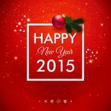 Tarjeta de la Feliz Año Nuevo 2015 Papel pintado rojo brillante Fotos de archivo