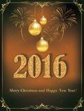 Tarjeta de la Feliz Año Nuevo 2016, también para la impresión Imagen de archivo