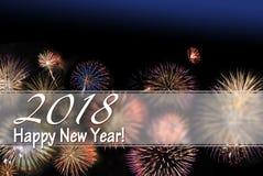 Tarjeta de la Feliz Año Nuevo 2018 y bandera del web con los fuegos artificiales Fotografía de archivo libre de regalías