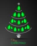 Tarjeta de la Feliz Navidad Árbol de navidad del diamante Fondo de la tarjeta de felicitación del árbol de navidad ilustración del vector