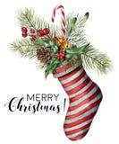 Tarjeta de la Feliz Navidad de la acuarela con la decoración La Navidad pintada a mano rayó el calcetín con la rama del abeto, co stock de ilustración