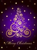 Tarjeta de la Feliz Navidad con el árbol de navidad adornado del oro ilustración del vector