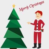Tarjeta de la Feliz Navidad con el árbol verde, estrella amarilla en fondo Muchacho en el traje de Papá Noel Plantilla editable d Imagen de archivo