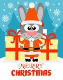 Tarjeta de la Feliz Navidad con el conejo Fotografía de archivo libre de regalías