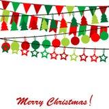 Tarjeta de la Feliz Navidad con el empavesado y guirnaldas Imágenes de archivo libres de regalías