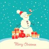 Tarjeta de la Feliz Navidad con el pájaro del muñeco de nieve y del piñonero stock de ilustración