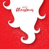 Tarjeta de la Feliz Navidad con la barba de Santa Claus en fondo rojo Imágenes de archivo libres de regalías