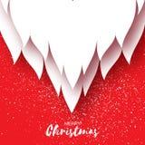 Tarjeta de la Feliz Navidad con la barba de Santa Claus en fondo rojo Foto de archivo libre de regalías