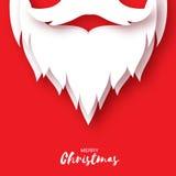 Tarjeta de la Feliz Navidad con la barba y el bigote de Santa Claus Imagen de archivo libre de regalías