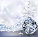 Tarjeta de la Feliz Navidad con la bola del diamante Imágenes de archivo libres de regalías