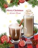 Tarjeta de la Feliz Navidad con las bebidas del chocolate caliente Fondos de las vacaciones de invierno Foto de archivo