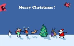 Tarjeta de la Feliz Navidad con los cardenales divertidos, Papá Noel, los ciervos, el muñeco de nieve y los niños Fotografía de archivo libre de regalías