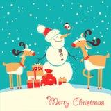 Tarjeta de la Feliz Navidad con los ciervos y la música que escucha del muñeco de nieve stock de ilustración