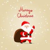 Tarjeta de la Feliz Navidad con Papá Noel Foto de archivo libre de regalías