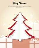 Tarjeta de la Feliz Navidad con un árbol y los regalos. Fotos de archivo libres de regalías
