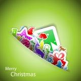 Tarjeta de la Feliz Navidad de las etiquetas engomadas Imagen de archivo