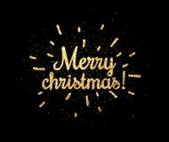 Tarjeta de la Feliz Navidad del oro en negro Fotografía de archivo