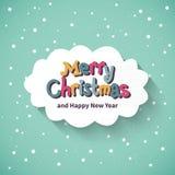 Tarjeta de la Feliz Navidad. Diseño plano. Imagen de archivo