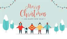 Tarjeta de la Feliz Navidad de la gente diversa que canta ilustración del vector