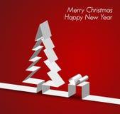 Tarjeta de la Feliz Navidad hecha de la raya de papel Fotografía de archivo