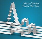 Tarjeta de la Feliz Navidad hecha de las rayas de papel Foto de archivo