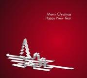Tarjeta de la Feliz Navidad hecha de las rayas de papel Imagen de archivo libre de regalías