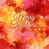 Tarjeta de la Feliz Navidad. Modelo geométrico del hexágono brillante. Imagen de archivo libre de regalías