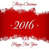 Tarjeta de la Feliz Navidad y de la Feliz Año Nuevo 2016 Fotografía de archivo