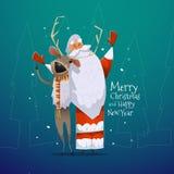 Tarjeta de la Feliz Navidad y de la Feliz Año Nuevo Fotos de archivo