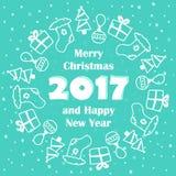 Tarjeta de la Feliz Navidad y de la Feliz Año Nuevo 2017 Fotografía de archivo