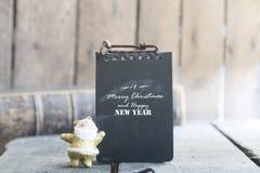 Tarjeta de la Feliz Navidad y de la Feliz Año Nuevo Fotografía de archivo libre de regalías