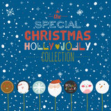 Tarjeta de la Feliz Navidad y de la Feliz Año Nuevo con el caramelo del saludo Imagen de archivo