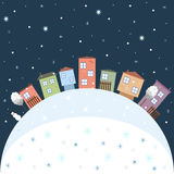 Tarjeta de la Feliz Navidad y de la Feliz Año Nuevo 2017 con las casas coloridas Fotografía de archivo libre de regalías