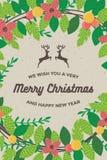Tarjeta de la Feliz Navidad y de la Feliz Año Nuevo para el ejemplo retro del vector de la plantilla del fondo del cartel Imagenes de archivo
