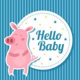 Tarjeta de la fiesta de bienvenida al bebé con el cerdo lindo ilustración del vector