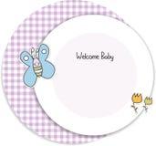 Tarjeta de la fiesta de bienvenida al bebé Fotografía de archivo