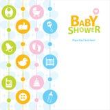 Tarjeta de la fiesta de bienvenida al bebé stock de ilustración