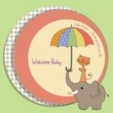 Tarjeta de la fiesta de bienvenida al bebé con el elefante y el gato Fotos de archivo libres de regalías