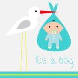 Tarjeta de la fiesta de bienvenida al bebé con la cigüeña. Es un muchacho. Fotos de archivo