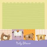 Tarjeta de la fiesta de bienvenida al bebé con los animales divertidos Fotos de archivo