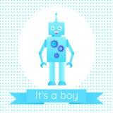 Tarjeta de la fiesta de bienvenida al bebé con un robot libre illustration