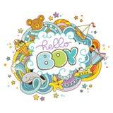 Tarjeta de la fiesta de bienvenida al bebé, hola muchacho Fotos de archivo