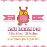 Tarjeta de la fiesta de bienvenida al bebé - Owl Theme Imagenes de archivo
