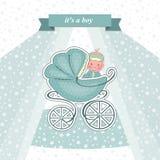 Tarjeta de la fiesta de bienvenida al bebé para un recién nacido Imágenes de archivo libres de regalías