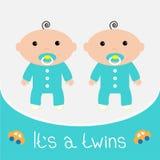 Tarjeta de la fiesta de bienvenida al bebé. Es los muchachos de los gemelos. Foto de archivo