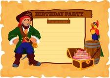 Tarjeta de la fiesta de cumpleaños con el pirata Imagen de archivo