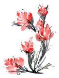 Tarjeta de la flor de la acuarela stock de ilustración