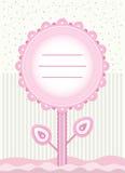 Tarjeta de la flor de la fiesta de bienvenida al bebé para el bebé Foto de archivo