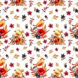 Tarjeta de la flor del campo con los pájaros stock de ilustración