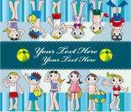 Tarjeta de la gente joven del verano Imagen de archivo